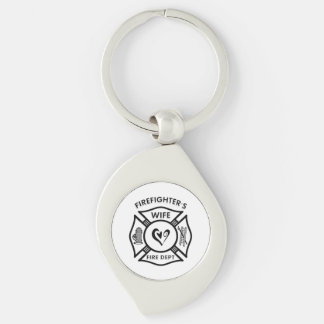 Firefighters Wife Silver-Colored Swirl Key Ring