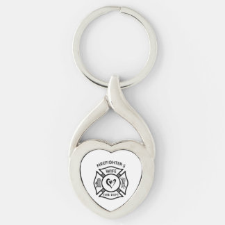 Firefighters Wife Silver-Colored Twisted Heart Key Ring