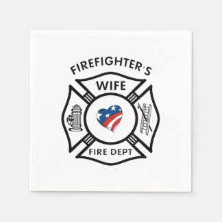 Firefighters Wife USA Disposable Serviettes