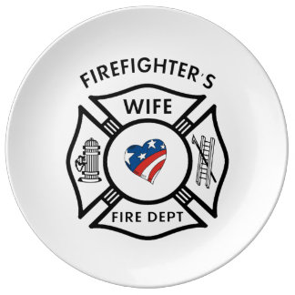 Firefighters Wife USA Porcelain Plate