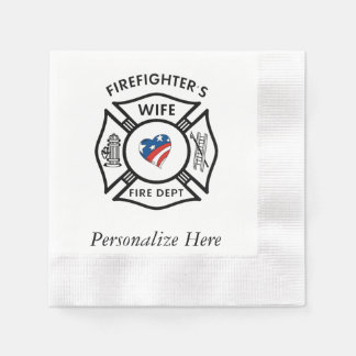 Firefighters Wife USA Disposable Serviette