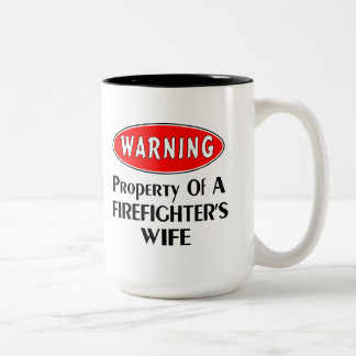 Firefighters Wife Warning Two-Tone Mug
