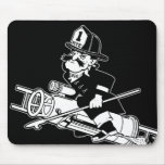 Firefighting Pete - Black and White Mousepad
