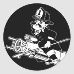 Firefighting Pete - Black and White Round Sticker