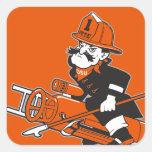 Firefighting Pete - Colour Square Sticker