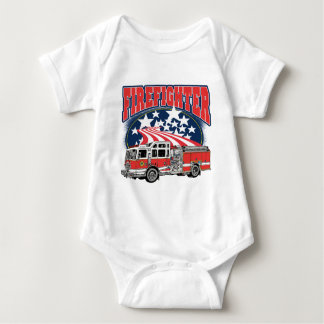 Firefighting Truck Baby Bodysuit