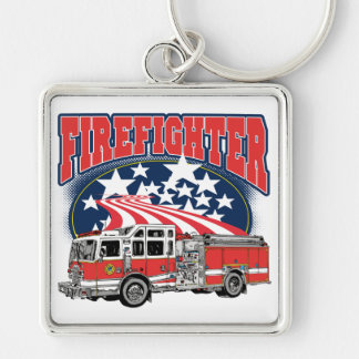 Firefighting Truck Silver-Colored Square Key Ring