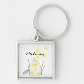 Fireflies Flying Silver-Colored Square Key Ring