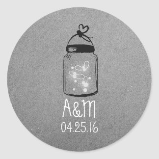fireflies mason jar grey rustic classic round sticker