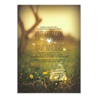 Fireflies Mason Jar Rustic Garden Couples Shower 13 Cm X 18 Cm Invitation Card