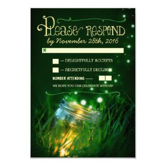 fireflies mason jar rustic garden wedding RSVP Card