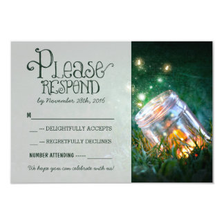 "fireflies mason jar rustic garden wedding RSVP 3.5"" X 5"" Invitation Card"
