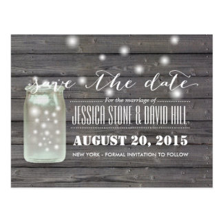 Fireflies & Mason Jar Wood Save the Date Postcard