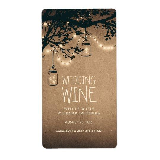 Fireflies Mason Jars Rustic Wine Shipping Label