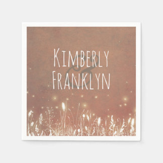 Fireflies Summer Night Field Wedding Disposable Napkins