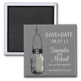 Fireflies & Vintage Mason Jar Save the Date Square Magnet