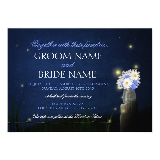 Fireflies with bouquet rustic wedding invitation