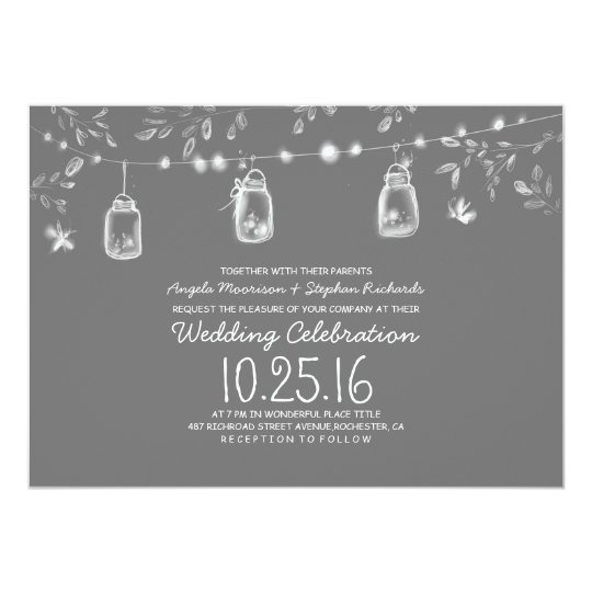 firefly lights mason jars rustic wedding card