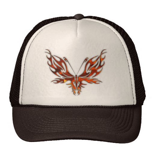 FireFly Red Flame Butterfly Design Mesh Hat