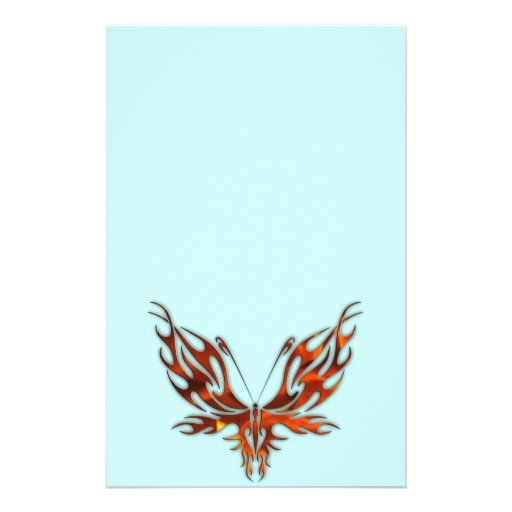 FireFly Red Flame Butterfly Design Custom Stationery