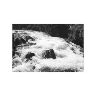 Firehole Cascades in Black & White Canvas Prints