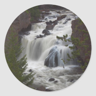 Firehole Falls At Dusk Round Stickers