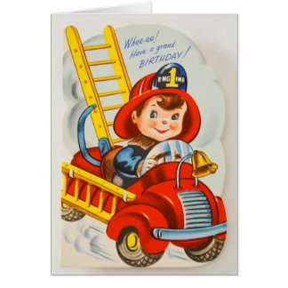 Fireman 1940s Vintage Birthday Card