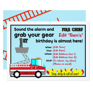 Fireman 1st birthday party invitations Firefighter