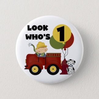 Fireman 1st Birthday Tshirts and Gifts 6 Cm Round Badge