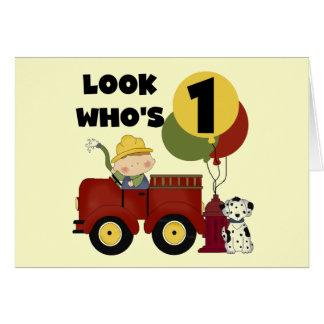 Fireman 1st Birthday Tshirts and Gifts Card