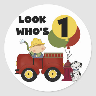 Fireman 1st Birthday Tshirts and Gifts Classic Round Sticker