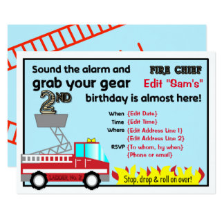 Fireman 2nd birthday party invitations Firefighter