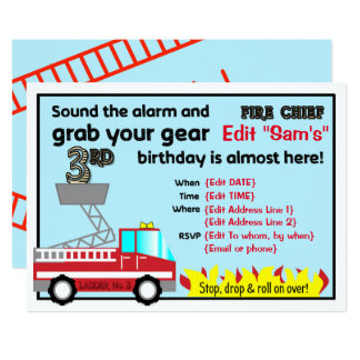 Fireman 3rd birthday party invitations Firefighter