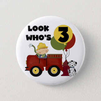 Fireman 3rd Birthday T-shirts and Gifts 6 Cm Round Badge