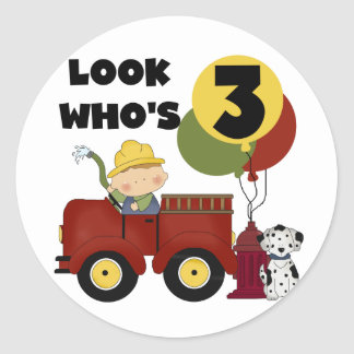 Fireman 3rd Birthday T-shirts and Gifts Round Sticker