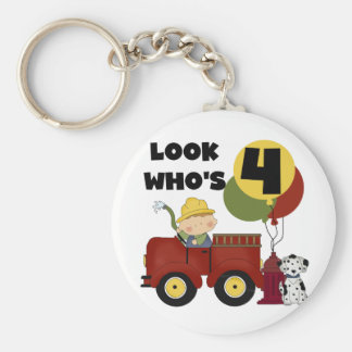 Fireman 4th Birthday Tshirts and Gifts Basic Round Button Key Ring