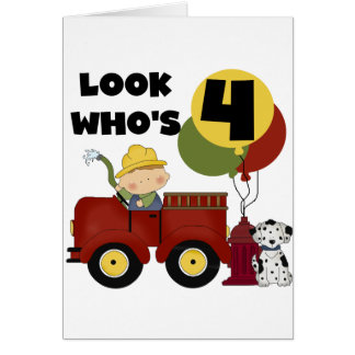 Fireman 4th Birthday Tshirts and Gifts Card
