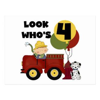 Fireman 4th Birthday Tshirts and Gifts Postcard