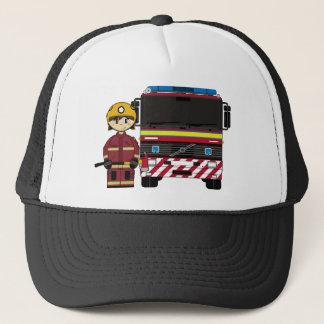 Fireman and Fire Engine Cap