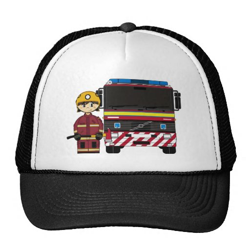 Fireman and Fire Engine Cap Hats