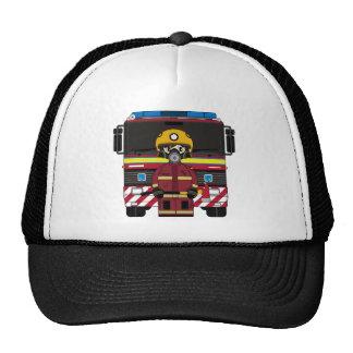 Fireman and Fire Engine Cap Trucker Hats