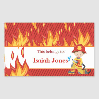Fireman Back to School Personalized Labels Rectangular Sticker