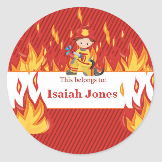 Fireman Back to School Personalized Round Labels Round Sticker