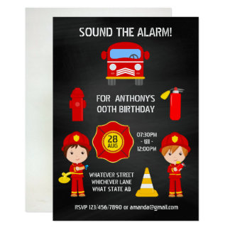 Fireman Birthday Chalkboard add photo invitation