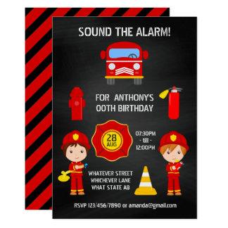 Fireman Birthday Chalkboard invitation