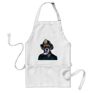Fireman boxer dog apron