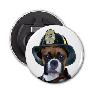 Fireman boxer dog bottle opener
