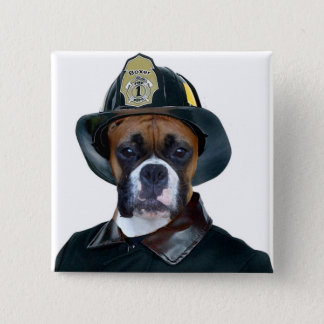 Fireman boxer dog button