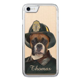 Fireman Boxer Dog Carved iPhone 8/7 Case