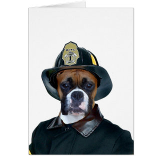 Fireman boxer dog greeting card